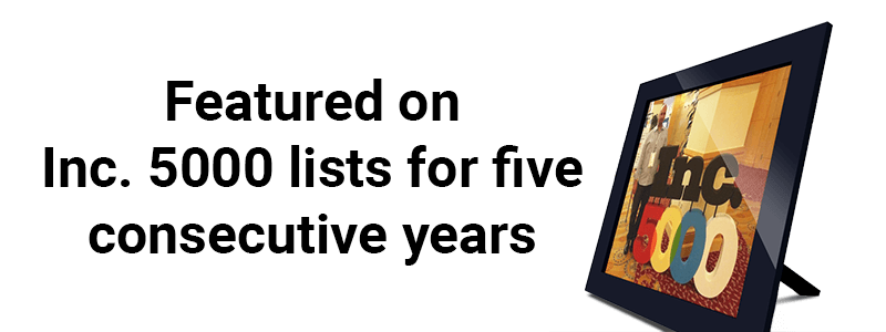 Featured on the Inc. 500|5000 lists for five consecutive years